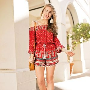 Band of Gypsies print pompom cold shoulder romper